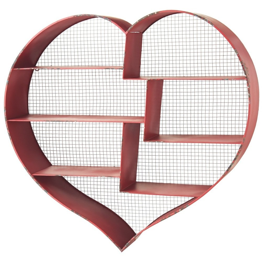 red heart shaped wall shelf