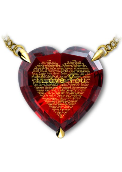 unique red heart necklace