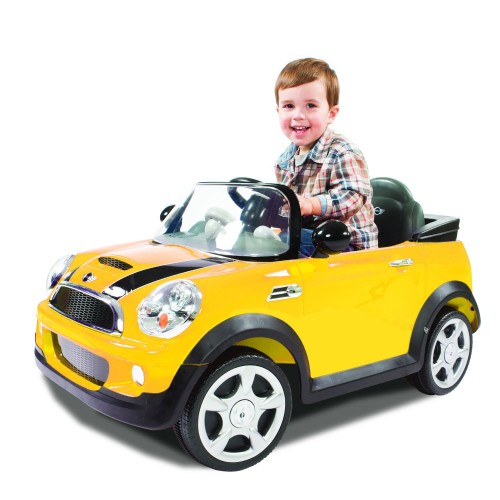 Cute Yellow Mini Cooper 6V Battery Ride-On Vehicle, Yellow