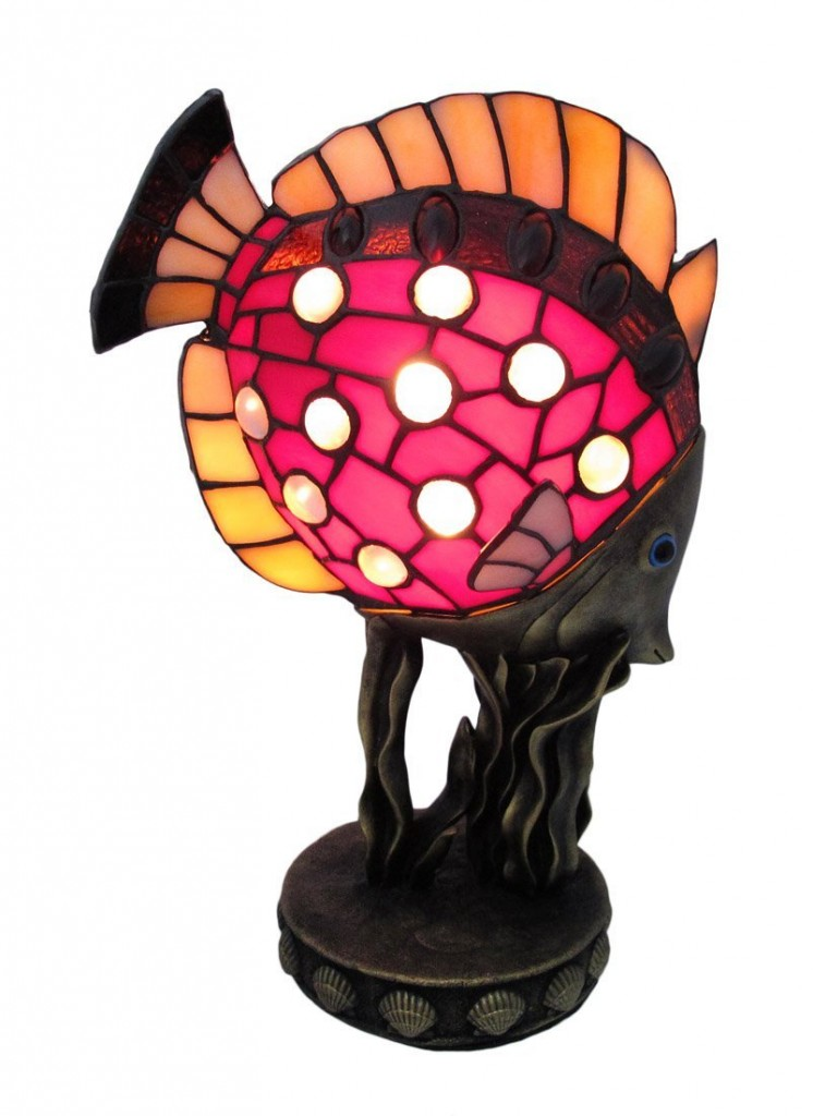Stained Glass Tropical Fish Accent Lamp Coral Reef Base