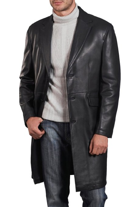 nice black leather coat for men