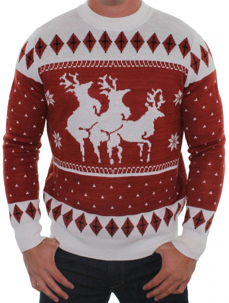 Reindeers Menage a Trois Sweater. Best Ugly Christmas Sweater for Men