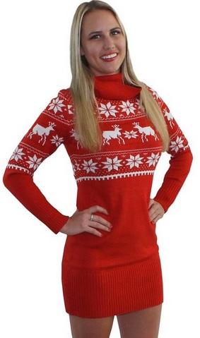 Cute Reindeer Sweater Dress