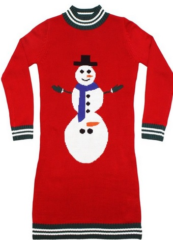 Women's Ugly Christmas Sweater - Excited Snowman Sweater