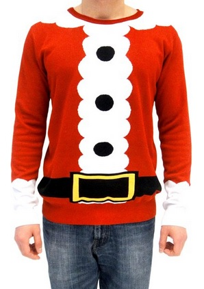 Ugly Christmas Sweater Santa Claus Adult Red Costume Sweater