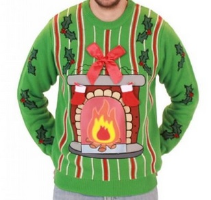 Fireplace LED Light Up Ugly Christmas Sweater