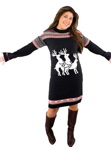 Reindeer Threesome Naughty Holiday Sweater Dress