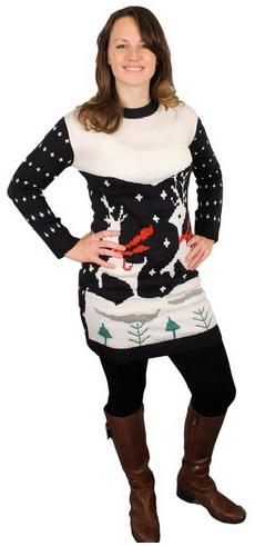 Prancing Reindeer Holiday Sweater Dress