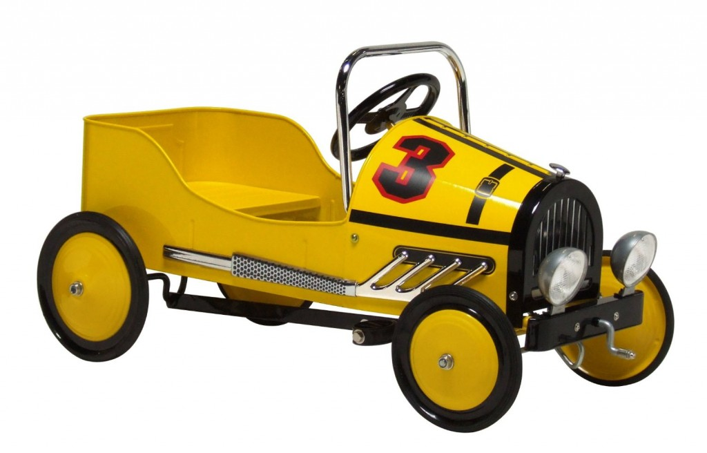Retro Style Racer Pedal Car, Yellow