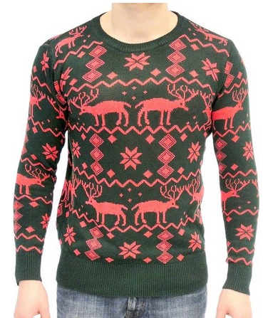 Ugly Adult Christmas Holiday Sweater with Reindeer