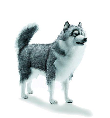 realistic plush HUSKIE DOG