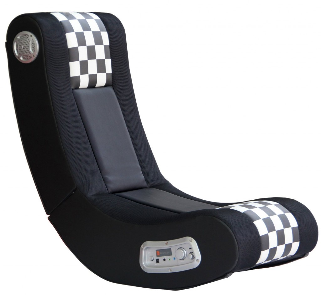 wireless Sound Gaming Chair, Black/White Checkered Flag Design