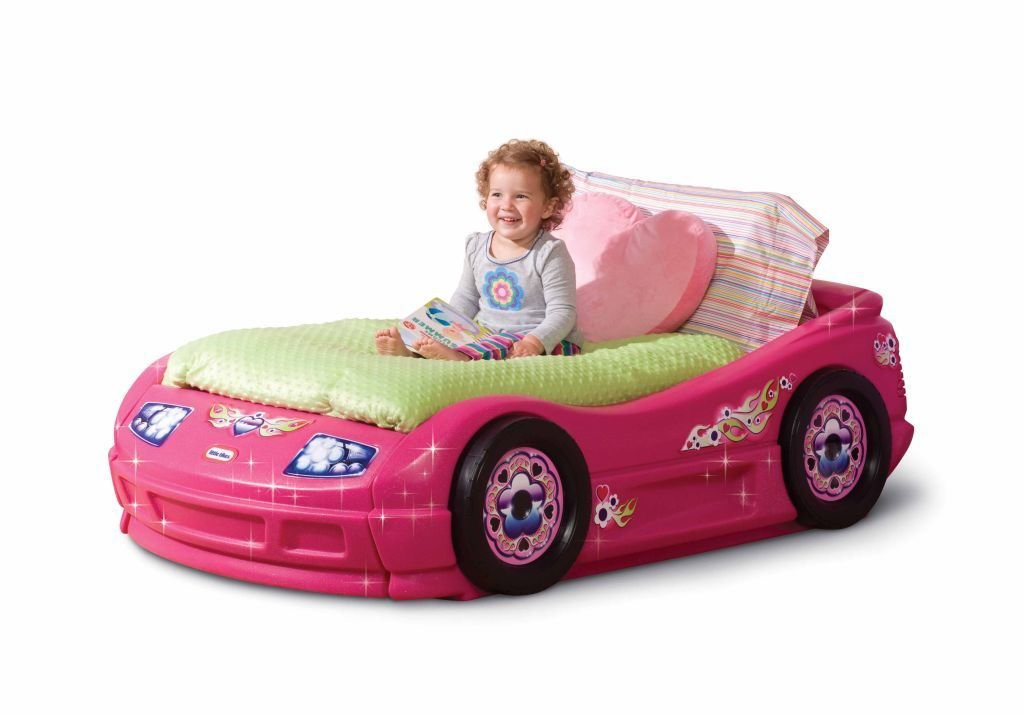 Cute Pink Car Bed for Toddler Girls