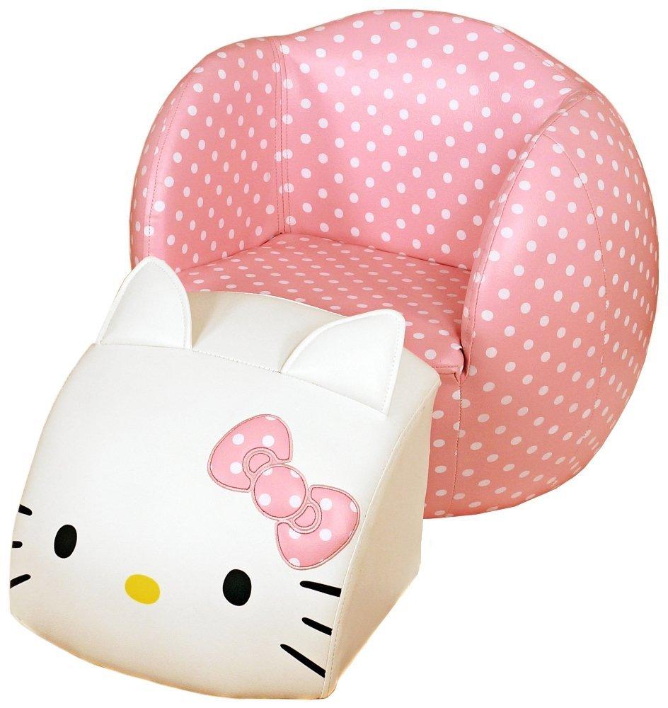 Hello Kitty Peek-A-Boo Kids Chair and Ottoman