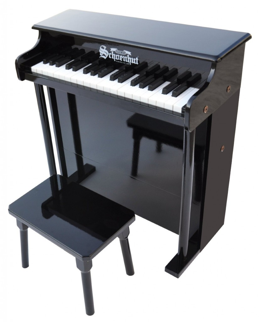 black upright piano for kids