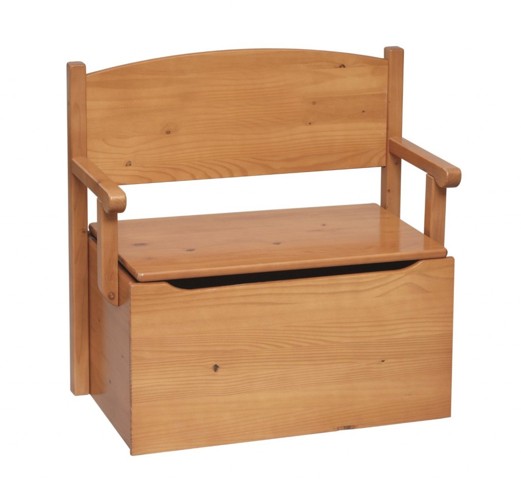 Honey Oak Storage Toy Box Bench
