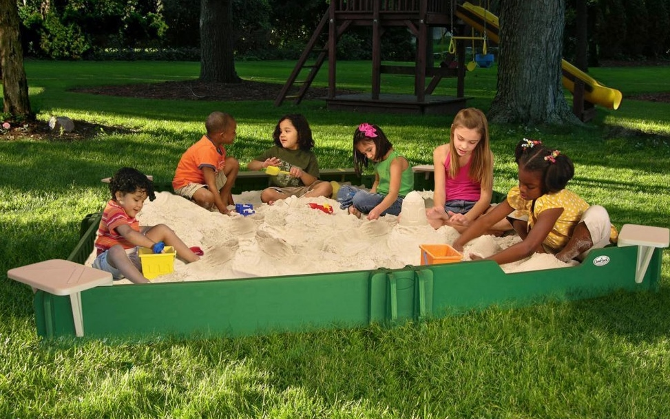 large outdoor sandbox with cover