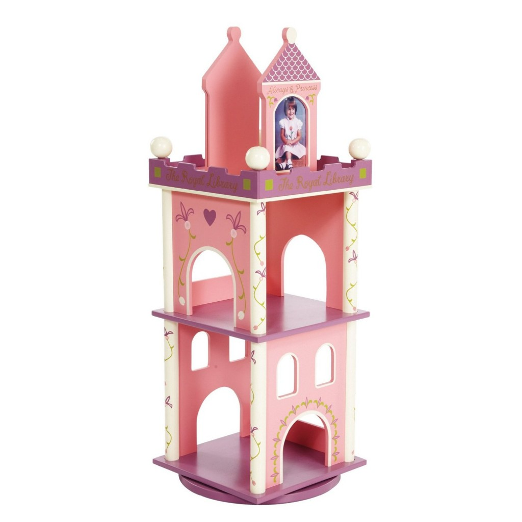 pink princess castle revolving bookcase for girls