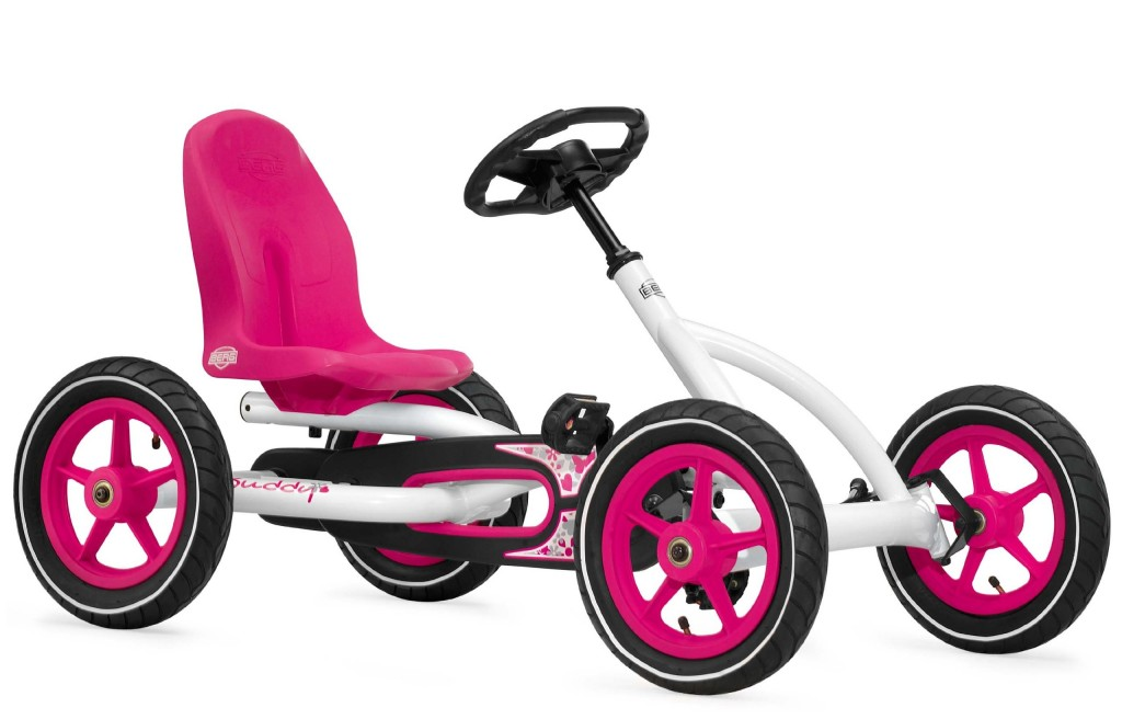 Pink and White Pedal Go Kart for Girls