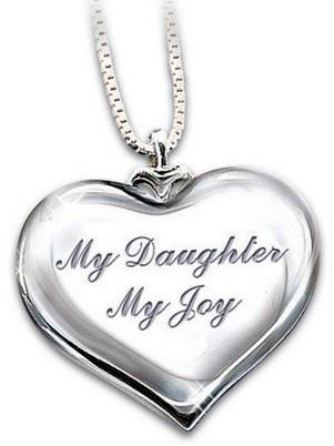 My Daughter, My Joy Diamond Heart Pendant Necklace