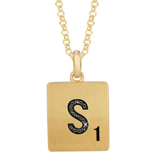 Gold Plated Sterling Silver Black Diamond Letter Necklace