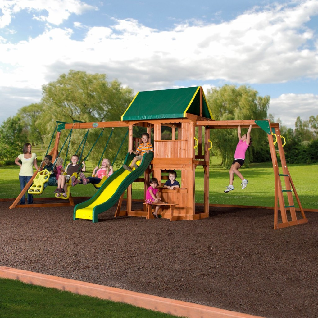 awesome wood swing set for kids