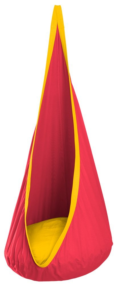 Child Posture Friendly Hanging Crow's Nest Seat and Pod Hammock, Cherry