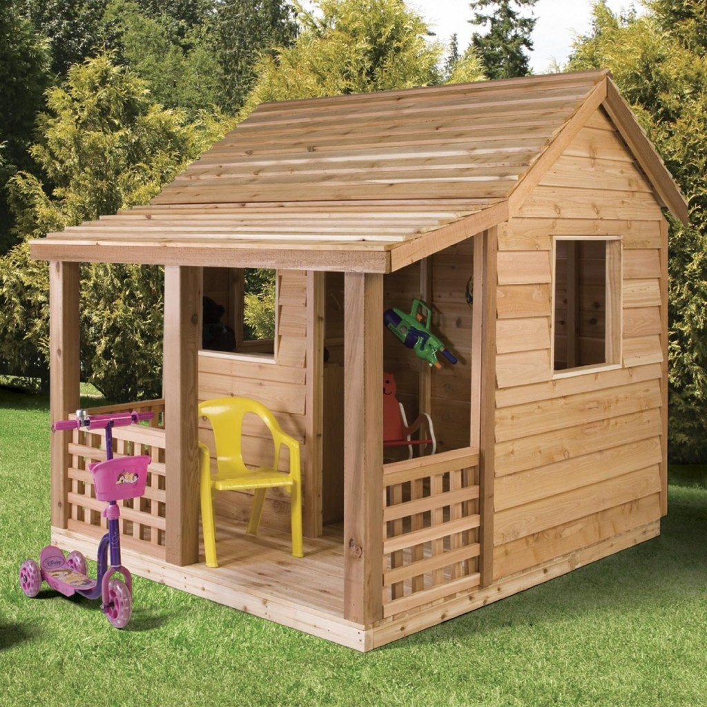 cedar wood cabin playhouse for kids