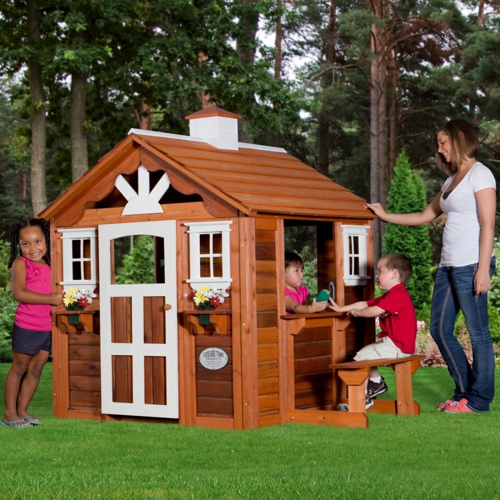 cute outdoor wood playhouses for kids