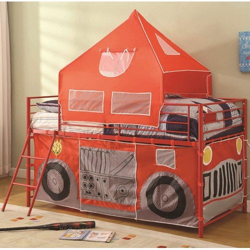 Twin Fire Engine Loft Bed With Attached Ladder And Safety Rails
