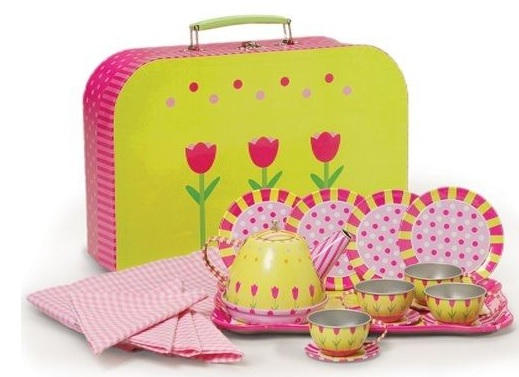 cute flower tin tea set for girls
