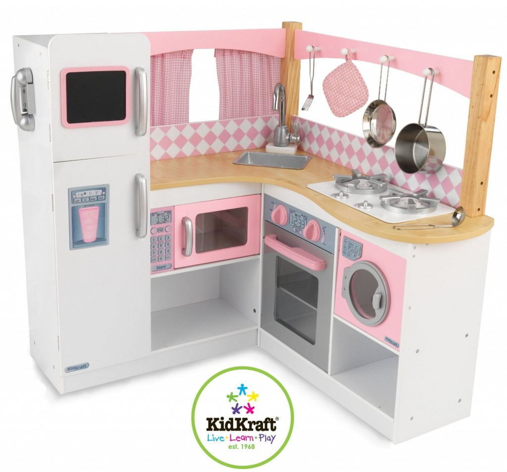 Cute Pink and White Toy Kitchen Set