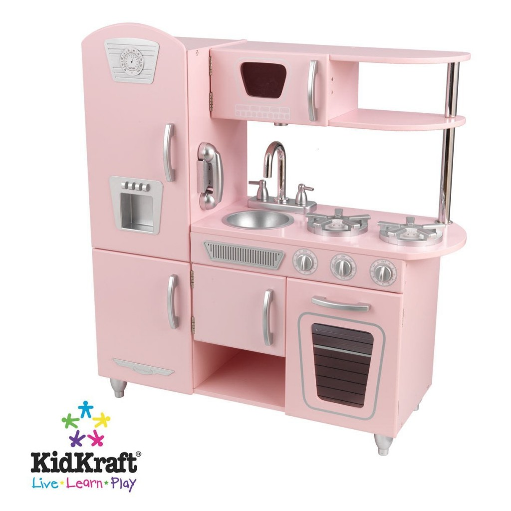 Adorable pink retro kitchen play set for girls