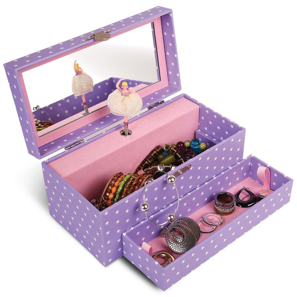 Purple Musical Jewelry Box with Stars