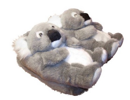 cute plush koala slippers