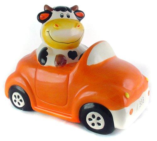 cute cow riding car piggy bank for kids