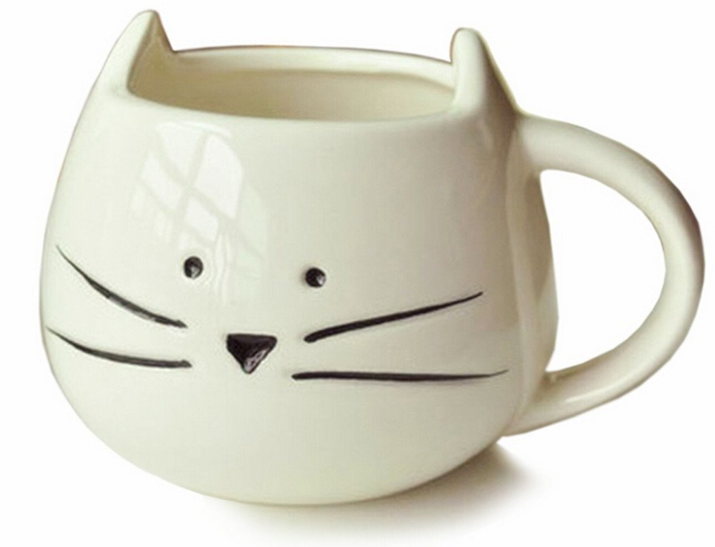 cute white cat coffee mug