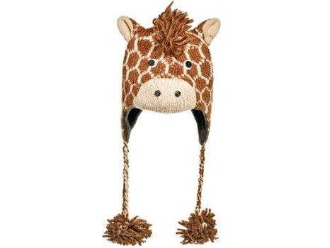 Cute  Giraffe Fleece-Lined Wool Pilot Hat