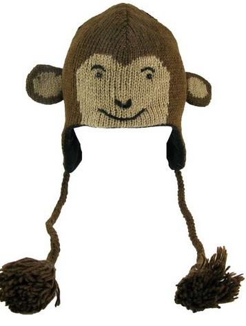 cute brown monkey face wool hat