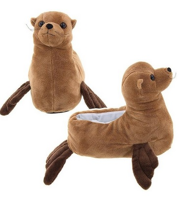Cute Brown Sea Lion Animal Slippers