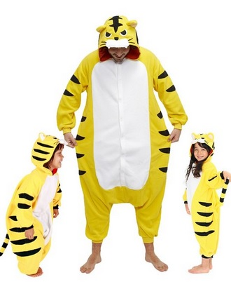cute yellow tiger fleece pajamas for kids and adults