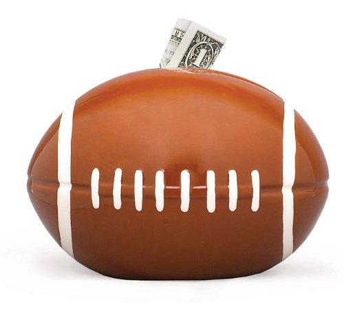 fun football shaped piggy bank for boys