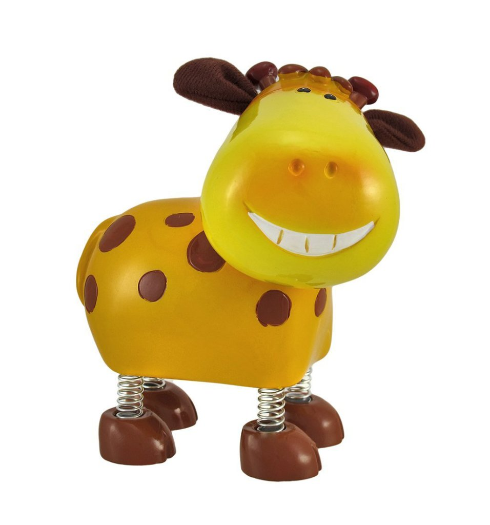 Smiling Giraffe Coin Bank with Spring Legs and Cloth Ears