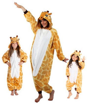 fun giraffe fleece pajamas