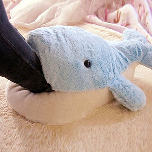 huge blue dolphin Plush Slippers