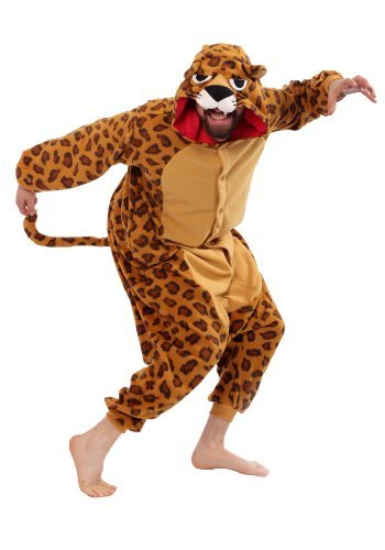 fun leopard fleece costume pajamas for adults