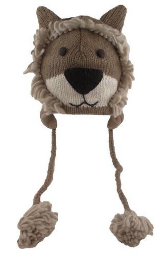 cute lion face knit hat