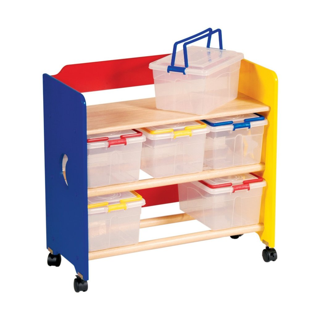 Mobile Toy Storage Rack With Clear Bins