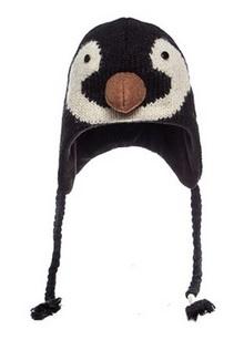 Cute  Penguin Face Wool Pilot Animal Cap