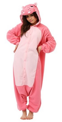 pink hippo adult animal pajamas